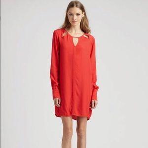 BCBGMAXAZRIA Emmalise Long Sleeve Cutout Red Dress